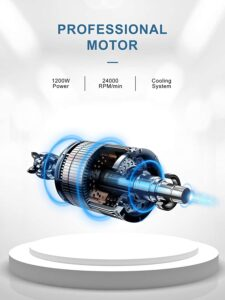 1200W motor and 6 stainless steel blades